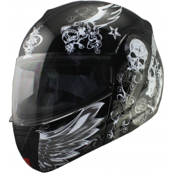 CASCO MAX V210 REBATIBLE NEGRO CRAZYSKULL