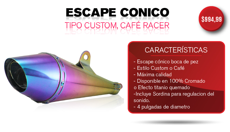 ESCAPE CONICO TIPO CUSTOM, CAFE RACER