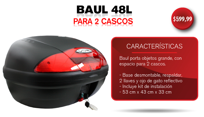 BAUL 48L, PORTA OBJETOS 2 CASCOS